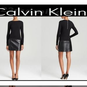 Calvin Klein Black Faux Leather Block Dress sz 12